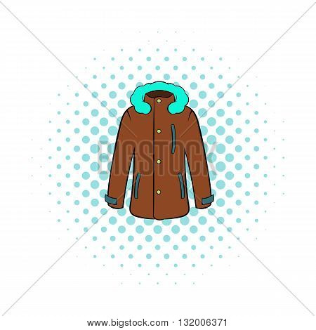 Winter jacket icon in comics style on dotted background. Clothing symbol