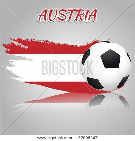 Flag of Austria with the soccer ball. National flag in vintage style. Brush as a national flag.