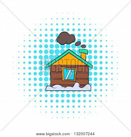 Winter house icon in comics style on dotted background. Accommodation and residency symbol