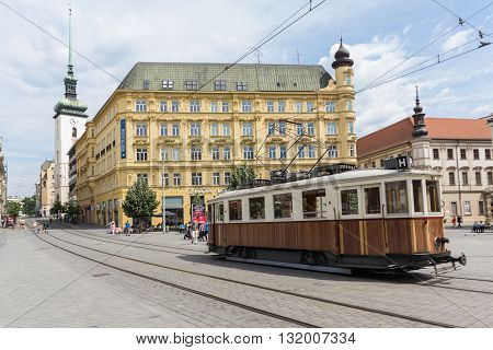 Old Tram Train On Liberty Square, The Centre Of Brno
