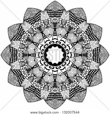 Mandala element in zenart style. Hand drawn mandala with lots of different hand drawn patterns. Zenart adult coloring page. Mandala for adult coloring pages t-shirt or prints.