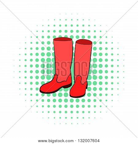 Rubber boots icon in comics style on dotted background. Shoes symbol