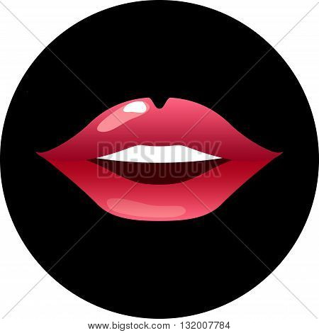 Red lips smiling with teeth on black vector illustration