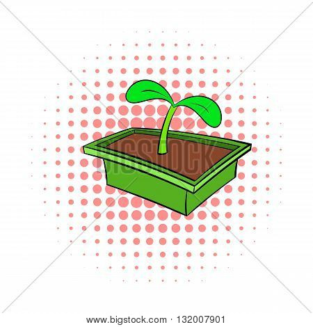 Seedlings in box icon in comics style on dotted background. Plants and nature symbol