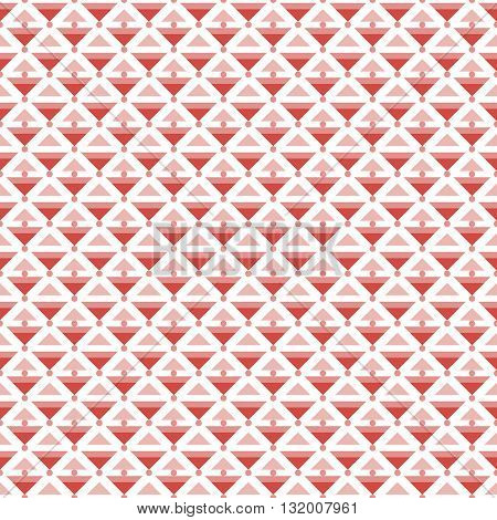 Abstract seamless pattern of different sized triangles and small circles. Endless graphic print in red and white colors. Vector illustration for fabric, paper and other