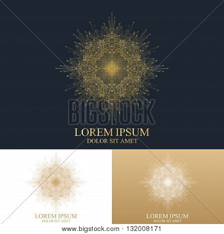 Geometric abstract round Logo. Golden mandala with connected line and dots. Graphic composition for medicine, science, technology, chemistry. Molecule Logo. Vector Logo Template.