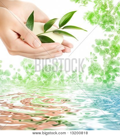 Woman's hands holding a bar of soap over abstract floral background
