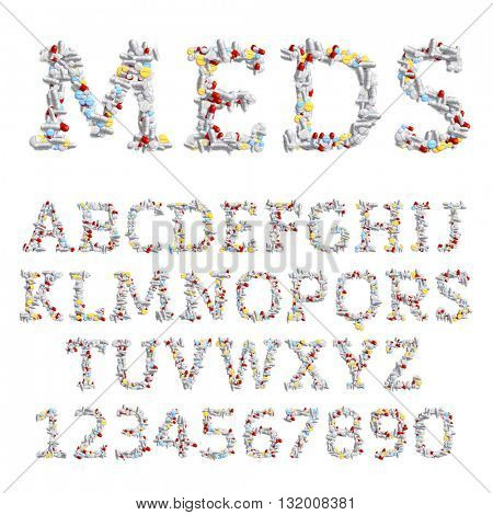 Vector font made of different drugs: pills and tablets. Medicine and pharmacology concept. Latin alphabet from A to Z and numbers from 0 to 9.