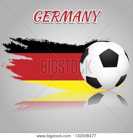Flag of Germany with the soccer ball. National flag in vintage style. Brush as a national flag.