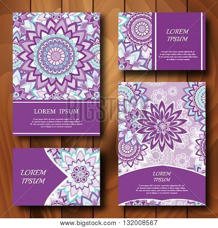Vector templates set. Business cards banners fliyers invitations with mandala ornaments. Islam Arfbic Indian Turkish Ottoman Pakistan mitifs. Design template.