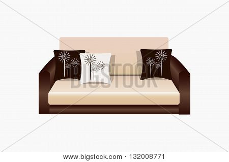 Sofa isolated on white background with cushions , furniture for living room interior, office vector illustration