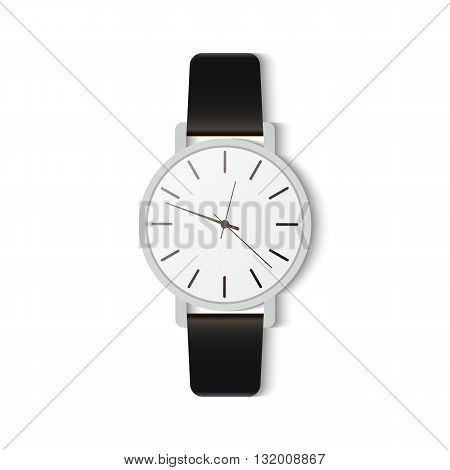 Wristwatch-style classic. Classic men's watch with black strap.