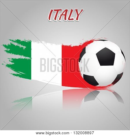Flag of Italy with the soccer ball. National flag in vintage style. Brush as a national flag.
