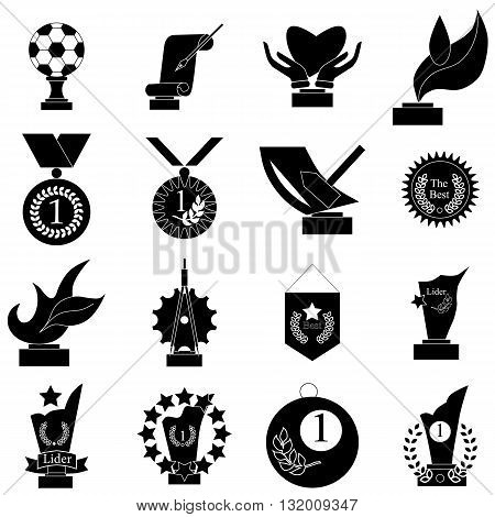Award icons set in simple style isolated on white background