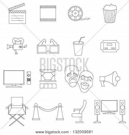 Cinema icons set in thin line style isolated on white background