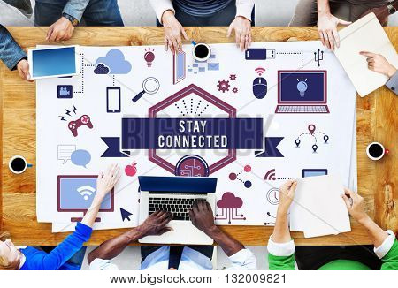 Stay Connected Technology Icons Graphics Concept