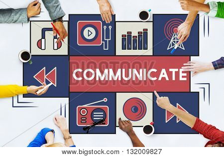 Broadcast Communicate Music Icon Connection Concept