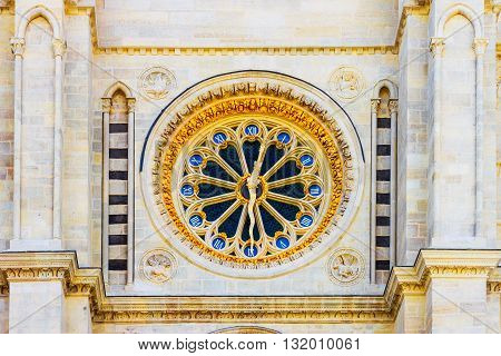 Detail Of Big Golden Watch On The Basilique Saint-denis.