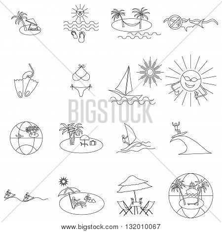 Beach icons set in thin line style isolated on white background
