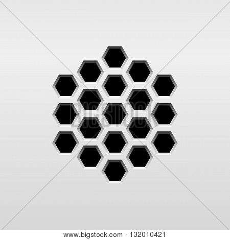 Abstract audio speaker template, dynamic with perforated grill pattern and white background for design elements, web, prints, apps, UI. Vector illustration.