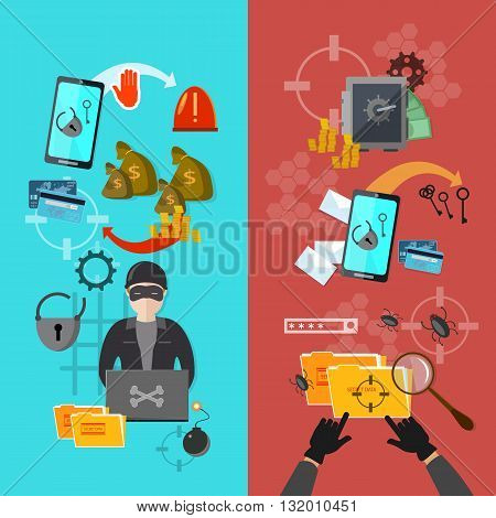 Hackers attaks activity banner mobile phone hacking vector illustration