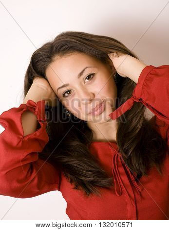 Portrait close up of young beautiful woman, on white background smiling, lifestyle people concept