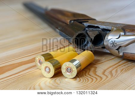 hunting rifle and ammunition, bullets, buckshot and capsule
