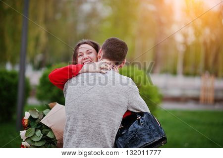 Marriage proposal. Embrace happy couple in love