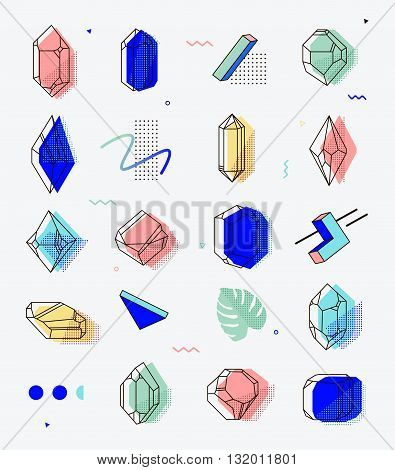 Set of space objects crystals with geometric shapes. Memphis style for hipsters. The elements for cover fashion t-shirts gift cards 80.