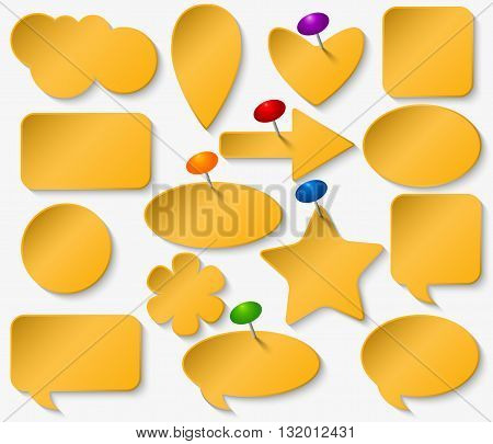 Yellow stickers set with colored pushpins. Different forms