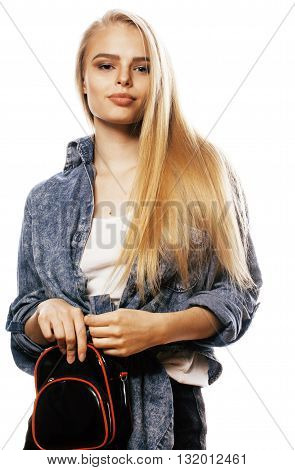 young blond woman on white backgroung smiling cute, isolated emotional posing close up, lifestyle people concept