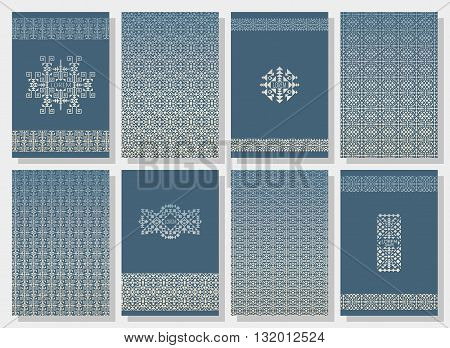 Set of tribal invitation cards. Stripes in ethnic style. American Indian or asian motifs. Colorful  vector illustration.