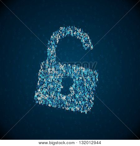 Vector lock icon made of digital numbers. Internet safety illustration. Security pictogram. Software hacking concept.
