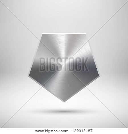 Abstract polygon, hex badge, blank button template with metal texture, chrome, silver, steel and realistic shadow for logo, design concepts, prints, web, interfaces, UI. Vector illustration.