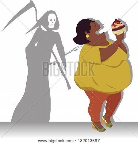 Grim Reaper touches shoulder of a happy overweight black woman with a big cupcake, vector illustration on health danger of obesity