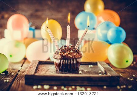 Birthday background. Birthday celebration with copy space. Birthday greeting card