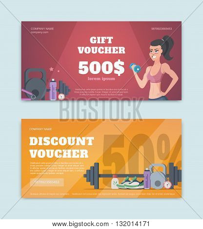 A gift voucher for a fitness club. Certificate offer discounts for sports