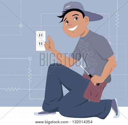 Electrician installing a wall socket, EPS8 vector illustration