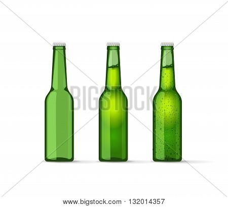 Green beer bottles set full and empty bottle with cap and bubbles cold bottle of mineral water drops soda lemonade fresh modern realistic vector illustration design isolated on white background