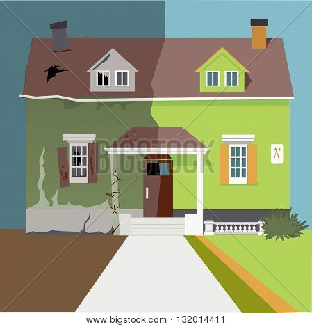 A house divided into before and after renovation parts