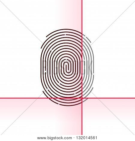 Fingerprint scan vector illustration isolated on white background electronic scanner flat linear outline concept design