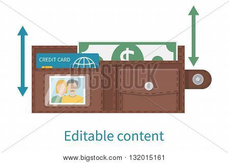Open wallet vector illustration flat design. Money and plastic credit card in wallet. Icon Men leather wallet opening. Dollar banknote credit card easily edited changing position. Editable content.