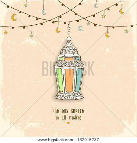 Eid Mubarak Background Arabic lantern. Vector illustration