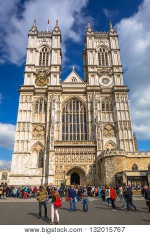 LONDON, ENGLAND - May 14, 2016: Architecture of the Westminster Abbey in London, UK. Westminster Abbey is a large gothic church and the traditional place of coronation for English monarchs.