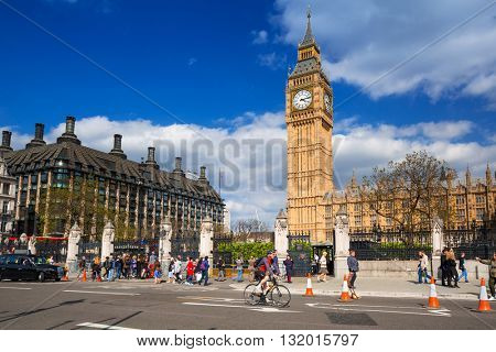LONDON, ENGLAND - May 14, 2016: Big Ben and the Palace of Westminster in London, UK. The Palace of Westminster commonly known as the Houses of Parliament is the home of the Parliament of England.