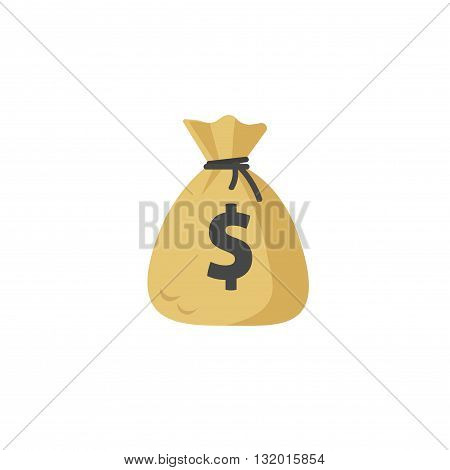 Money bag vector icon moneybag flat simple cartoon illustration with black drawstring and dollar sign isolated on white background