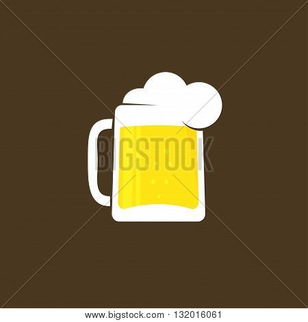 White beer glass with foam vector logo template concept of pub logotype beer drink bar symbol abstract pub sign beer mug flat icon trendy design illustration isolated on black brown background