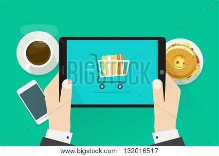 Two hands holding tablet computer device vector illustration breakfast top view concept abstract table with fast food coffee cup mobile phone burger flat cartoon design isolated on green