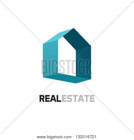 Real estate vector logo template blue 3d abstract geometric home symbol with shadow.