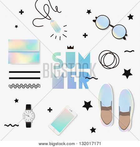 The trend set to look. Holographic summer with accessories. Set for a fashion show.